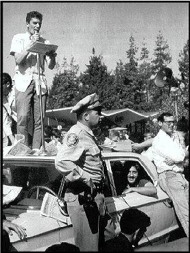Mario Savio on a police car in Berkeley 1964