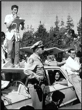 Mario Savio on a police car in Berkeley 1964