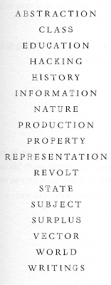 ABSTRACTION CLASS EDUCATION HACKING HISTORY INFORMATION NATURE PRODUCTION PROPERTY REPRESENTATION REVOLT STATE SUBJECT SURPLUS VECTOR WORLD WRITINGS